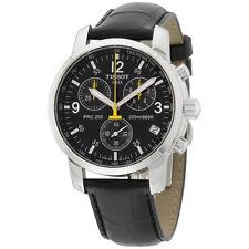 Tissot PRC 200 Black Dial Black Leather Strap Men's Watch T17152652