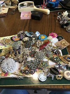 Job Lot Vintage & New Jewellery Brooches,Enamel,Mother Of Pearl,Silver Marcasite