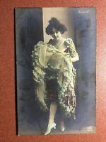 Antique postcard 1909s Star Dance Can-can SAHARET fluffy skirt. Belle Epoque