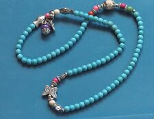 """TURQUOISE ANTIQUE SILVER STRETCH 20"""" NECKLACE OR BRACELET, SEE PICS! IT IS BOTH"""