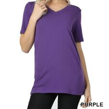 Zenana Outfitters NEW Purple Women Size V Neck Plus Size 3XL T-Shirt Top