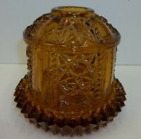 Vintage Indiana Glass Amber Fairy Lamp Light Stars Bars Candle Holder