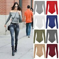 Womens Off Shoulder Long Sleeve Top Ladies Plain Stretch Bardot Bodysuit Leotard