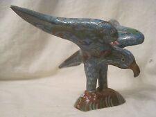 vintage cloisonne enamel Eagle Statue Chinese copper cast bird art decor figure