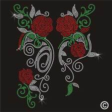 Iron On Rhinestone Transfer FLORAL ROSES Diamante Hotfix Gem Crystal Motif Patch