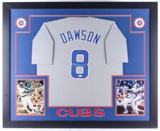 Andre Dawson Signed Chicago Cubs 35x43 Custom Framed Gray Road Jersey (JSA COA)