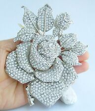 """Clear Austrian Crystal Pendant Ee02994C3 Gorgeous 5.12"""" Rose Flower Brooch Pin"""