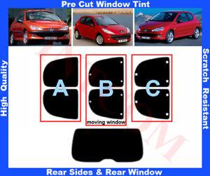 Peugeot 206 3D 1999-2010 Pre-Cut Window Tint 5%-50% Rear Window & Rear Sides