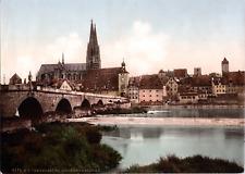 Deutschland, Regensburg. Steinerne Brücke und Dom.   vintage print photochromi