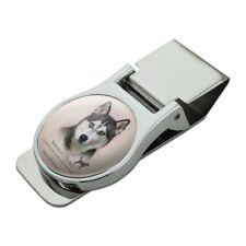 Siberian Husky Dog Breed Satin Chrome Plated Metal Money Clip