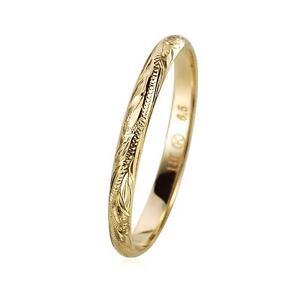 SOLID 14K YELLOW GOLD HAND ENGRAVED HAWAIIAN SCROLL BAND RING 3MM