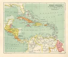 1891 Victorian Map ~ West Indies & Central America ~ Cuba Jamaica Guatemala