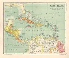 1891 VICTORIAN MAP ~ WEST INDIES & CENTRAL AMERICA ~ CUBA JAMAICA GUATEMALA