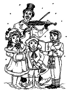 Unmounted Rubber Stamp, Christmas Stamps, Victorian Christmas Carols, Carolers