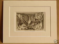 YELLOWSTONE LOWER FALLS USA ANTIQUE DOUBLE MOUNTED ENGRAVING 1876 VERY RARE 10X8