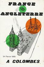 Francia / Inghilterra 1968 RUGBY Cena menu CARD 1st GRAND SLAM stagione per la Francia