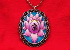 OHM LOTUS FLOWER TATTOO CHANT HINDU OM PENDANT NECKLACE