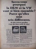 PUBLICITÉ DE PRESSE 1965LA DKW ET LA VW VONT SI BIEN ENSEMBLE - ADVERTISING
