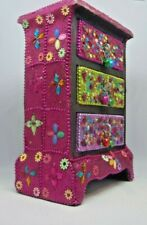 UNUSUAL WOOD CHEST OF DRAWERS JEWELLERY BOX ADORNED WITH SEQUINS & BEADS