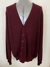 Tundra Canada Men's 2X Burgundy 100% Virgin Wool Button Front Cardigan Sweater
