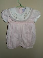 Carriage Boutiques 6M Smocked Bubble Romper Pink Collar Lace Vintage Flowers