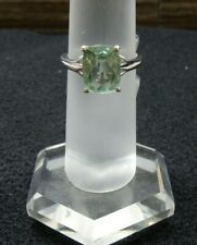 Size 7 Natural Green Fluorite Solitaire Cushion Sterling Silver Ring 3.36cts