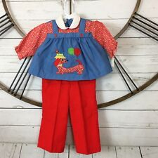 Vtg Baby Girl 18 Mo 2 Piece Pants Set Winnie Dog Balloons Outfit New Deadstock