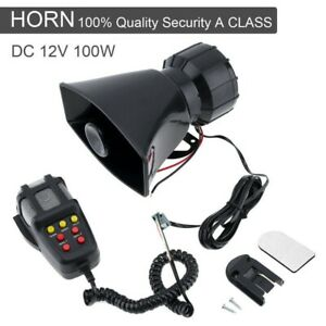 Car Siren Loud Speaker 100W 12V Siren Horn MIC System Kit for Cars Vans Truck UK