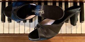 Vintage Daniel Green 8.5 Black Satin Boudoir Slipper Evening Shoes
