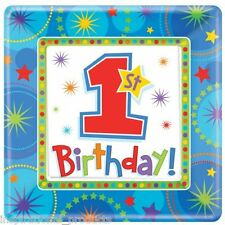 Amscan 8 Pack 1st BIRTHDAY BOY One-Derful Square Party Table Paper Plates 7""