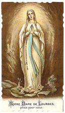 Our Lady of Lourdes with Rosary & Roses Antique Vintage French Holy Prayer Card