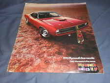 1970 Plymouth Barracuda with 426 Hemi Six Pac Color Brochure Catalog Prospekt