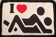 I LOVE TO F**K FUNNY BIKER PEACE MOTORCYCLE TRUCKER ROCK PUNK VEST PATCH P-29