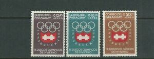 PARAGUAY 1963 INNSBRUCK WINTER OLYMPICS (Scott 788-90 top 3 values only) VF MNH