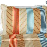 [Million Miles] Cotton 3PC Vermicelli-Quilted Striped Printed Quilt Set (Full/Qu