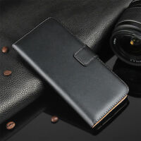 For Motorola Moto Luxury Genuine Real Leather Wallet Card Flip Case Phone Cover