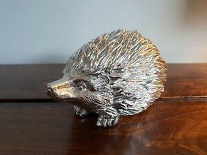 Life Size Silver Statue of a Hedgehog Going About His Day (Animal Statue Art)