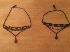 2 goth style choker necklaces one red one black good condition