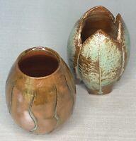 "2 - 3.25"" Tall Art Pottery Vases Brown & Mint Green - 1 Signed David Om Studios"