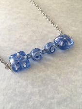 "Bar Necklace ""16 Handmade Blue Beaded"