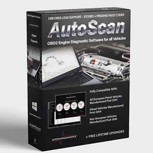 Autoscan Standard OBD2 EOBD Engine Diagnostic Software 4 all Vehicles Elm327