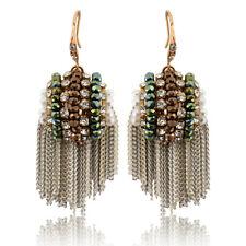 Elegant Crystal Cluster Tassels Hook Dangle Ear Earrings For Women Charm Jewelry