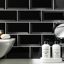 Sample of gloss black metro bevelled edge ceramic wall tiles 10 x 20cm