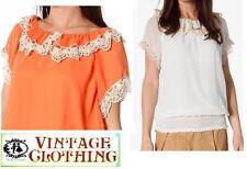 Chiffon Ruffle Short Sleeve Tops & Shirts for Women