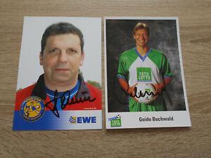 2 Autogrammkarten Rostock Stuttgart DFB Stuttgarter Kickers