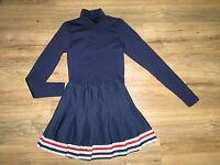 Youth Cheerleader Uniform Outfit Halloween Costume Fun Navy Blue Top Skirt