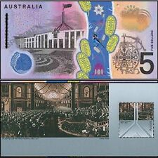 Australian Mint 2001-2016 1st QE2 $5 Redesign DA16 S&F Polymer + Fed Stamp Sheet