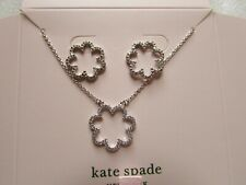 Kate Spade Boxed Set Scrunched Scallops Pendant Necklace Studs Earrings Silver