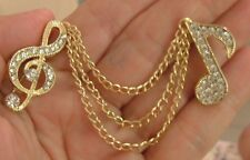GOLD RHINESTONES MUSICAL C NOTE TREBLE CLEF PINS DANGLING CHAINS BROOCH