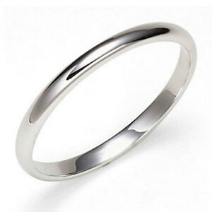 18K White Gold Plated Wedding Band 2mm Ring Size 6 8 9 10 11 12 13 14 New